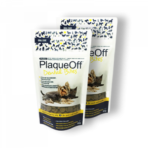 PlaqueOff Dental Bites 60 g. - hund og kat max 10 kg